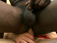 Perverted black friend sucking huge white cock with pleasure, treasure