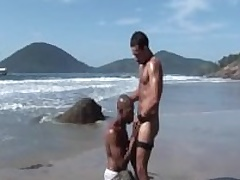Alan And Anthony: Interracial Joyful Couple Fuck Bareback On Public Beach