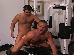 Two handsome and lustful gay guys sucking and fucking hard in the gym