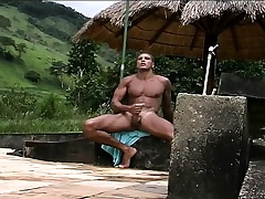 Gorgeous Latino hunk with a fantastic throng gives it give himself outside