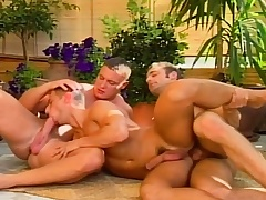 Hot gay studs in a threesome of sexy head and anal intercourse