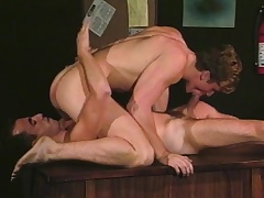 Blissful studs Alec increased by David stick their big dicks yon the mouth increased by ass