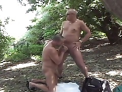 Bodily gay dudes enjoying lots of sucking and fucking yon the forest