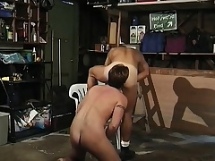 Gay dude makes a straight dude blow him and he squeals when butt fucked