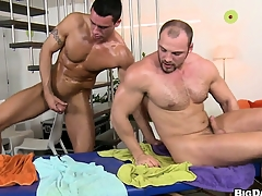 The boys trade head added to fitfully he gets his ass pounded bareback style