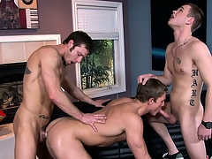 A trio of lasting gay cocks always provides of a hot threesome show
