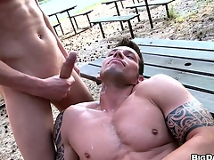 Two buff studs take a crack at bareback anal sexual connection out in a reprobate beach
