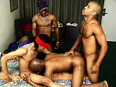 Gangbangers get it on at near an orgy with a slutty white varlet