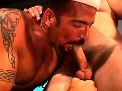 The captain is ready to break in the new sailor by putting his cock up his ass