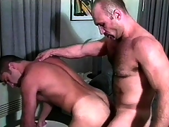 Two muscled gay guys in unvaried are enthusiastic to enjoy a good anal fucking