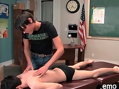 Erotic twink gets a massage and gives head