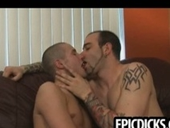 Several young gay dudes swell up on big hard cocks
