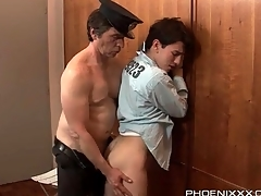 Horny guard gets his dick sucked by a prisoner