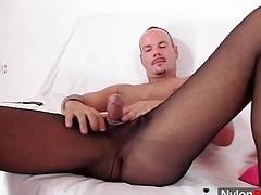 Hot guy wears pantyhose to masturbate