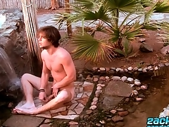 Hot pauper naked outdoors and washing his irritant
