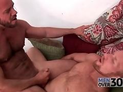 Hairy men fuck hard dicks into miserly assholes