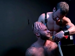 Submissive gay bear gets his beard shaved