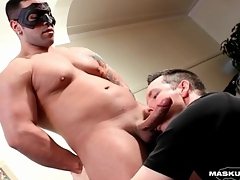 Thick guy gets a blowjob coupled with has an orgasm