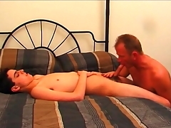 Patriarch gay guy sucks on sexy twink cock