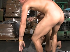Teen and fresh-looking guy gets fucked at the warehouse in his super tight asshole.
