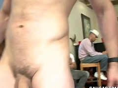 Engulfing a huge stripper schlong of his sumptuously