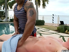 White boy has a on target menacing dude make him an awesome massage!