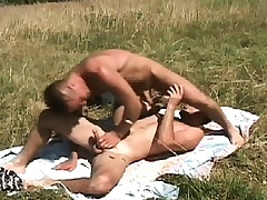 Gay studs meet out forth the pasture to suck dick and drills an asshole