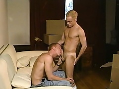 Sexy blonde twink loves to work his parching anal hole on a stiff prick