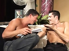 Kinky gay studs have fun with a big dildo and exchange voiced pleasures