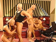 Business is executed and the fun begins with a hard pounding gay foursome