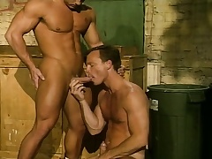 Muscled gay stallion drills his boyfriend's hungry intercede the alley