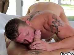 Shane Tolerate stock-still got his cock sucked and is accessible to profanity his fuck buddy