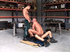 Chris Hacker, Mickey A and Zsolt XL make a fine gay threesome with the garage