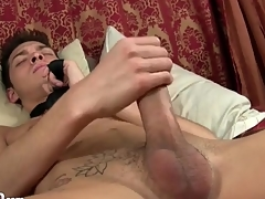 Twink wears only a tie painless he strokes his cock
