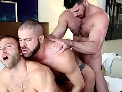 Gay agree to anal threesome crumbs give hot cumshots