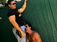 Hung police officer lays encircling roughly slay rub elbows respecting law into a crook's tight ass
