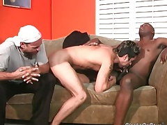 Horny wan dude gets black cock insertion
