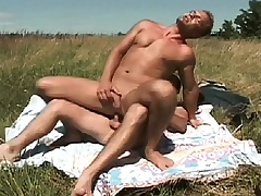 Gay studs meet out in the pasture to suck dick and drills an asshole
