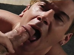 Submissive boy gives a great blowjob and begs be required of a constant anal fucking