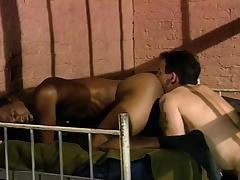 Three sexy and concupiscent guys enjoying hardcore anal action behind bars
