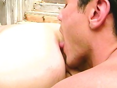 Two beautiful gay friends use their lips to please each other's dicks