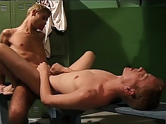 Bodily young cocksucker gets his ass drilled hard all round the locker room