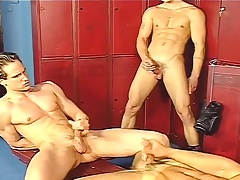 Locker room gays jerk off increased by do an ass fuck chain in a threesome