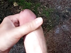 Quick cumshot outdoor in along to woods